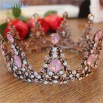 Mamojko Baroque Vintage Pink Rhinestone Crystal Queen Wedding Crown <b>Fashion</b> Bride Tiara <b>Jewelry</b> Hair Dress Accessories For Women