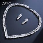 ZAKOL Classic Clear White Leaf Bridal Wedding <b>Jewelry</b> Marquise Shape Cubic Zircon Earrings <b>Necklace</b> Women <b>Jewelry</b> Set FSSP258