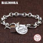 BALMORA Genuine 925 Sterling <b>Silver</b> Branded <b>Bracelets</b> for Women Men Gift Fashion <b>Bracelet</b> Jewelry about 17.5cm Esposas SZ0434