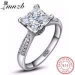 LMNZB Luxury 2.5 Carat Solid 925 <b>Sterling</b> <b>Silver</b> Halo Wedding Ring Princess Cut CZ Stone Fashion <b>Jewelry</b> For Women LR038