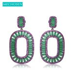 MECHOSEN Milky Pink Stone Square Stud Earrings For Women Black Gun Plated Large Brincos Cubic Zirconia <b>Wedding</b> Oorbellen <b>Jewelry</b>