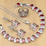 925 Silver Bridal <b>Jewelry</b> Sets Red CZ White Stone Beads Decoration For Women Crown Shaped Lady Sterling Silver <b>Jewelry</b>