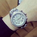 New High Quality Luxury Crystal Diamond Watches Women <b>Silver</b> Watch Steel Strip Sparkling Dress Wristwatch Female Ladies Clock