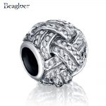 Beagloer Dazzling 925 Sterling Silver Charm Fit <b>Handmade</b> Bracelet with Clear Cubic Zirconia <b>Jewelry</b> For Women PSMB0243
