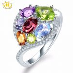 Hutang Natural Multi Gemstone Amethyst Tanzanite Citrine Garnet Solid 925 Sterling <b>Silver</b> Ring Fine <b>Jewelry</b> presents Gift NEW