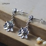a pairs new design Long Big Lotus flowers tassel girls Retro 925 Sterling Silver 100% <b>Handmade</b> <b>Jewelry</b> Women Statement Earrings