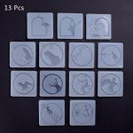 13 Pcs Cute Cartoon Pendant With Hole Epoxy Clear Silicone Resin Liquid Mold Casting Beads Crystal Molds DIY <b>Jewelry</b> <b>Making</b> Tool