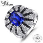 JewelryPalace Luxury 3.9ct Created Blue Sapphire Natural Black Spinel Cocktail Ring Solid 925 <b>Silver</b> Ring Fine <b>Jewelry</b> for Women