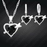 JEXXI Simple 925 Sterling Silver Bridal Wedding <b>Jewelry</b> Sets For Women Heart Cubic Zircon Pendants Necklace Earrings Set