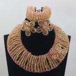 2017 New Ceremony Crystal Party Women <b>Jewelry</b> Set <b>Handmade</b> Gold Beaded Chunky Costume <b>Jewelry</b> Set Free ShippingABL982