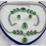 Women's Wedding Popular <b>jewelry</b> Green gem Necklace Bracelet Ring Earring Set>AAA GP Bridal wide wa Natural