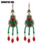 Colorful Turkish Vintage Crystal Bead Drop Earrings <b>Antique</b> Gold Color Resin Hook Dangle Women Earring Bohemia Ethnic <b>Jewelry</b>