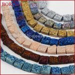 BOROSA Fashion and Handcrafted 12mm Square Rainbow Natural Titanium Crystal Druzy Geode Loose Bead for <b>Jewelry</b> <b>Making</b> LS013