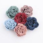 20PCs/Lot Korea Microfiber Fabric Rose Flowers DIY Hair <b>Jewelry</b> Clip Decor Handmade Floral Button patch Sticker Fit Garment Shoe