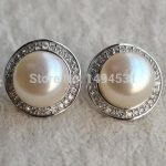 Christmas Gift <b>Jewelry</b> AAA 13MM White Freshwater Pearl Stud Earrings , 925 Sterling Silver Earring <b>Wedding</b> <b>Jewelry</b>.