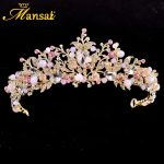 New Gold <b>Wedding</b> Crown Bijouterie Diademe Mariage Imitation Pearl Pink Crystal Tiaras Hair <b>Jewelry</b> Princess Queen Diadem HG219