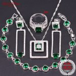 <b>Silver</b> 925 Wedding Jewelry Green Crystal Jewelry Sets For Women With Necklace Earrings Ring Pendants <b>Bracelet</b> For Jewelry Box