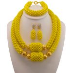 Yellow Bridesmaid Necklace <b>Bracelet</b> Set 2017 Nigerian Wedding Costume Statement Jewelry For Women Choker African Beads Jewelry