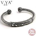V.YA Genuine 925 <b>Sterling</b> <b>Silver</b> Twist Shape Bangles & Bracelets Punk Style Open Size Cuff Bangle For Men Women Fine <b>Jewelry</b>