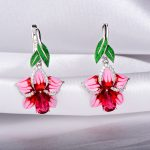 RainMarch Bohemian Enamel Pink Flower Earrings Silver For Women Engagement 925 Sterling Silver Earring <b>Handmade</b> Party <b>Jewelry</b>