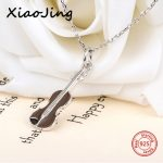 2018 new arrival 925 sterling silver brown violin pendant chain necklace European diy fashion <b>jewelry</b> <b>making</b> for women gifts