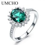 UMCHO Green Created Nano Emerald Real 925 Sterling <b>Silver</b> Vintage Birthstone Ring For Women <b>Silver</b> Engagement Brand Fine <b>Jewelry</b>