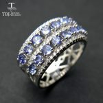 TBJ,100% natural Blue tanzanite gemstone ring ,luxury and classic gemstone design in 925 sterling <b>silver</b> gemstone <b>jewelry</b>
