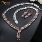 Pera Elegant Nigerian Women Party Costume <b>Jewelry</b> Set Big Colorful Leaf-Shape Long Dropping <b>Necklace</b> And Earrings For Gift J226
