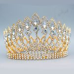 Gorgeous Sparkling Crystal Baroque Queen <b>Wedding</b> Bridal Tiara Crown Women Prom Diadem Headpiece Bride Hair <b>Jewelry</b> accessories