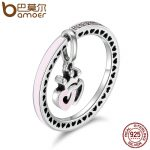 BAMOER Genuine 925 Sterling Silver Forever Heart & Daisy Flower Finger Rings for Women Wedding Anniversary <b>Jewelry</b> Gift SCR131