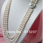 Hot sale natural freshwater round pearl 3 rows 8-9mm beads diy charming necklace <b>jewelry</b> <b>making</b> 17-19 inch MY4596
