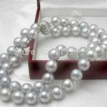lady's women's silver <b>jewelry</b> 8MM Gray Akoya Cultured Shell Pearl Necklace 18″ AAA beads <b>jewelry</b> <b>making</b>