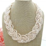 """N050906 20""""9 Strands White Pearl Necklace"""