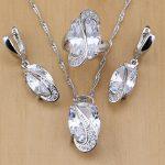 Trendy 925 Sterling Silver Bridal <b>Jewelry</b> White CZ <b>Jewelry</b> Set For Women Wedding Earrings/Pendant/Necklace/Rings