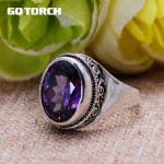 GQTORCH Natural Purple Amethyst Rings For Women 925 Sterling <b>Silver</b> <b>Jewelry</b> Vintage Thai <b>Silver</b> Flower Engraved Anelli Argento