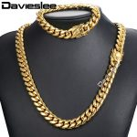 Davieslee Miami Curb Cuban Link Womens Mens Jewelry Set Hip Hop 316L Stainless Steel Gold <b>Silver</b> Tone 8/12/14mm DHSM01