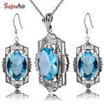 Szjinao Fashion Aquamarine Jewelry Set 925 Sterling <b>Silver</b> Classic Pendant <b>Earring</b> Jewelry Set Women Vintage Wedding Decorations