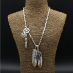 56.9g Solid 925 <b>Sterling</b> <b>Silver</b> Long Necklace Men Vintage Indian Style Gold Eye & Claw Feather Charms Designer <b>Jewelry</b> Men Gifts