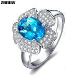 ZHHIRY Genuine Natural Blue Topaz 925 <b>Sterling</b> <b>Silver</b> Gemstone Ring For Women Flower Rings Real Precious Fine <b>Jewelry</b>