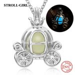 2018 hot sale 925 sterling silver carriage glowing charm pendant necklace European diy fashion <b>jewelry</b> <b>making</b> for women gifts