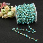 5MM/Pack Handmade Irregular Natural Stone Turquoises Pure Copper Beads Chain <b>Fashion</b> Gem Stone Rosary Chain For <b>Jewelry</b> Marking