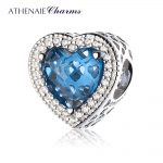 ATHENAIE 925 Sterling <b>Silver</b> Radiant Hearts Beads Charms Pave Moonlight Blue Crystal & Clear CZ Fit <b>Bracelets</b> Women