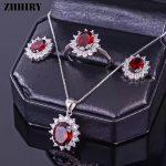 ZHHIRY Women <b>Jewelry</b> Sets Natural Garnet Gemstone Genuine 925 <b>Sterling</b> <b>Silver</b> Set Ring Earring Pendant Chain Fine <b>Jewelry</b>