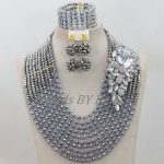 10 Layers Nigerian Traditional Beads African Costume Wedding Jewelry Set <b>Silver</b> Crystal Beads Necklace Set Free Shipping ABF685