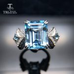 TBJ,6.5ct Brazil Blue topaz gemstone Ring solid 925 sterling <b>silver</b> party ring for women birthday gift on sale with <b>jewelry</b> box