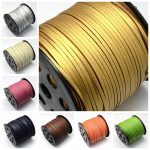 2.7×1.4mm; 90m/roll Faux Suede Cord Thread for <b>Jewelry</b> <b>Making</b> DIY Accessories Design, One Side Covering with Imitation Leather
