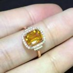 Natural citrine Ring Natural yellow crystal Ring S925 sterling <b>silver</b> trendy Elegant Square women girl gift <b>Jewelry</b>