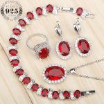 Costume Silver 925 Bridal <b>Jewelry</b> Sets Women Red Stones White Zircon Earrings/Rings/Pendant/Necklace/Bracelets Jewelery Gift Box