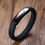 Mens Braided Leather Bracelets in Black Stainless Steel Matt Dull Flat Buckle Locking Cuff Bangle Men Wristband Male <b>Jewelry</b>