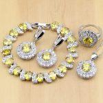 925 <b>Silver</b> Bridal Jewelry Yellow Zircon Stones White Crystal Jewelry Sets Women Wedding Earrings/Pendant/Necklace/Rings/<b>Bracelet</b>